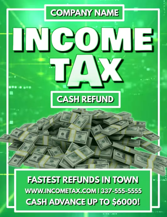 INCOME TAX VIDEO FLYER TEMPLATE Løbeseddel (US Letter)