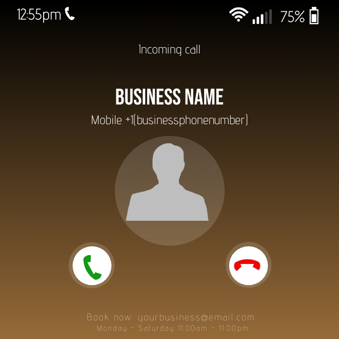 Incoming call screen Instagram Post template