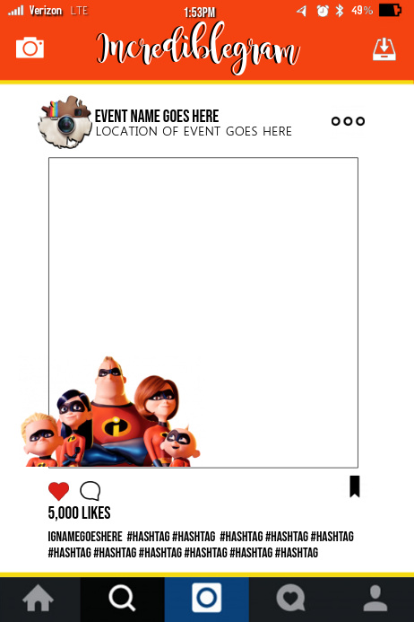 Incredibles Party Prop Frame Template | PosterMyWall