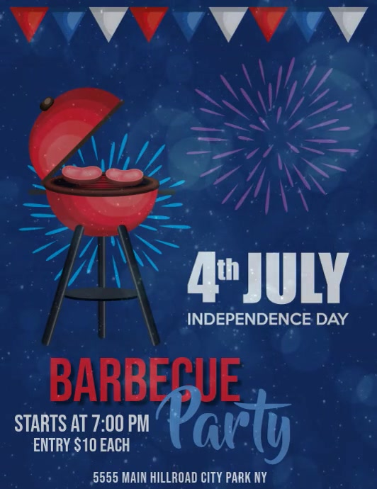 Independence Day Barbecue Template Pamflet (Letter AS)