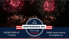 Independence Day BBQ Event Invitation Facebook Cover Video template
