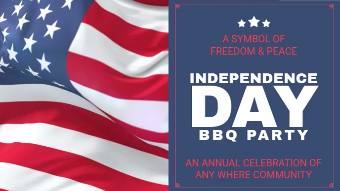 Independence Day BBQ Party Facebook Cover Video Invitation template