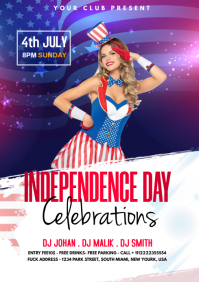 Independence Day Party Flyer Affiche template