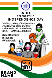 India Independence in Covid-19 Template Poster