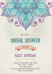 Indian bridal shower invitation A6 template
