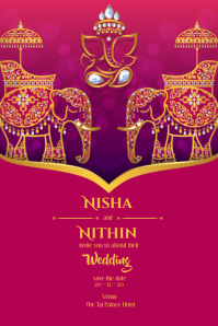 Indian classical wedding card Poster template