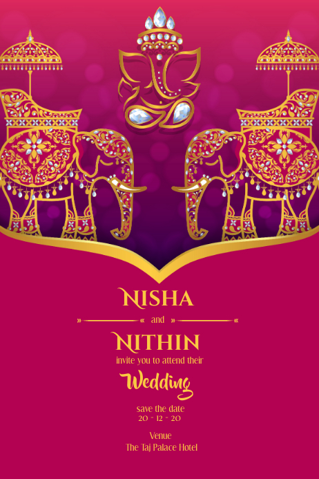Indian classical wedding card