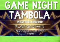 Indian community tambola game night Postcard template