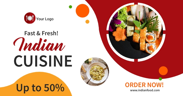 Indian cuisine restaurant ad Facebook Shared Image template