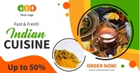 Indian cuisine restaurant ad multiple videos Facebook Shared Image template