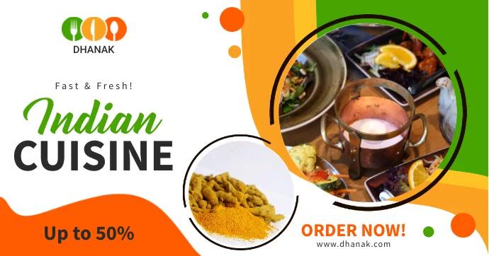 Indian cuisine restaurant ad multiple videos Obraz udostępniany na Facebooku template