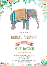 Indian elephant them bridal shower invitation