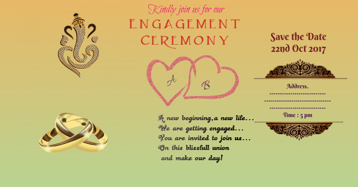 Indian Enagagement Invitation Card Template Postermywall