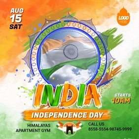 Indian Independence Day Flag Invitation Video Square (1:1) template