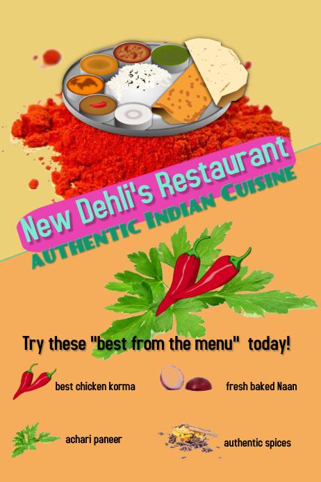 indian restaurant/India/cuisine/menus/asia Poster template