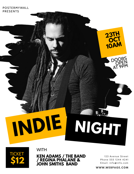 Indie Band Flyer Design Template Volante (Carta US)
