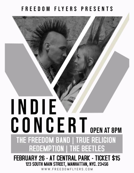 Indie Concert Flyer Template Design ใบปลิว (US Letter)