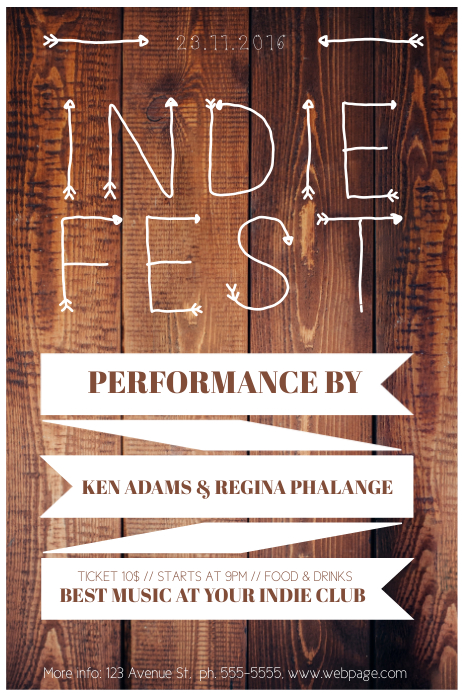 Indie Fest Wood Flyer Template