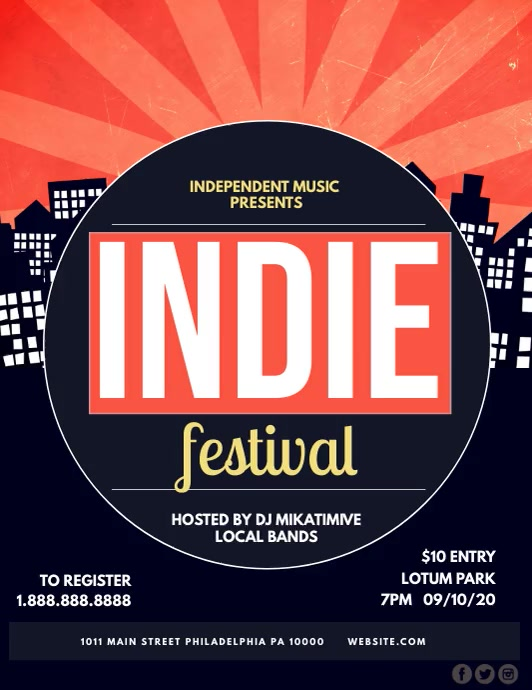 Indie Festival ใบปลิว (US Letter) template