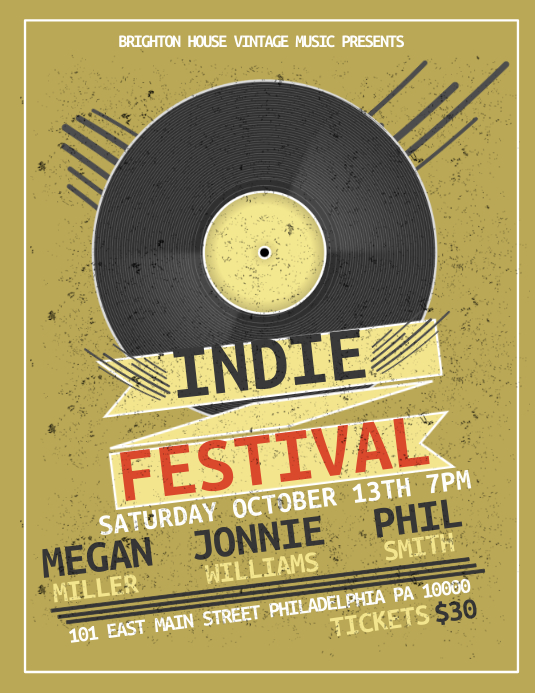 Indie Festival Folder (US Letter) template
