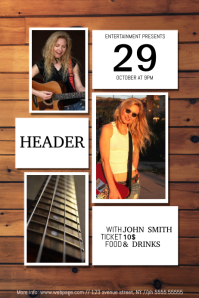 indie guitar player poster flyer event band template