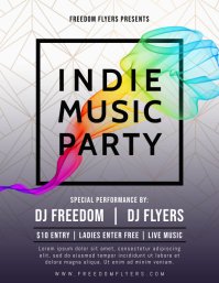 Indie Music Party Flyer Template Folheto (US Letter)