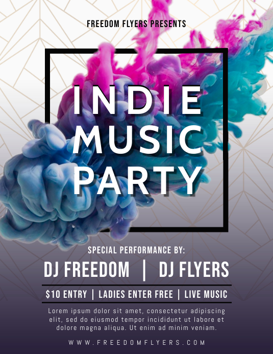 Indie Music Party Flyer Template ใบปลิว (US Letter)
