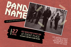 indie rock band concert landscape flyer one single photo