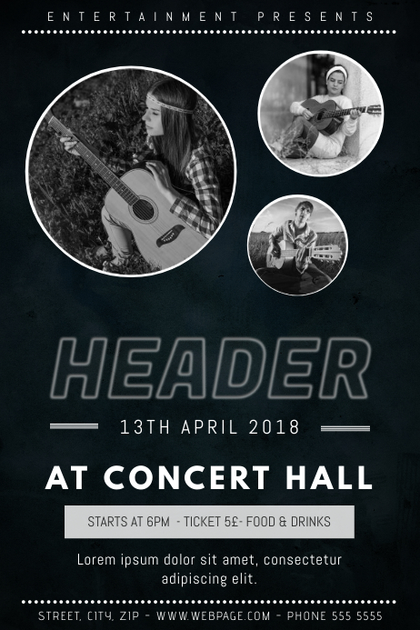 Indie Rock Band Concert Flyer Template