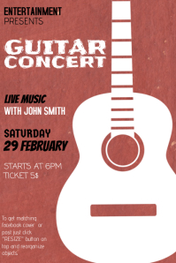 Indie Rock Guitar Concert Flyer template