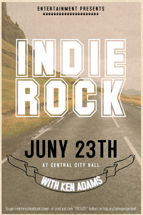 Indie rock hipster contncert event flyer template