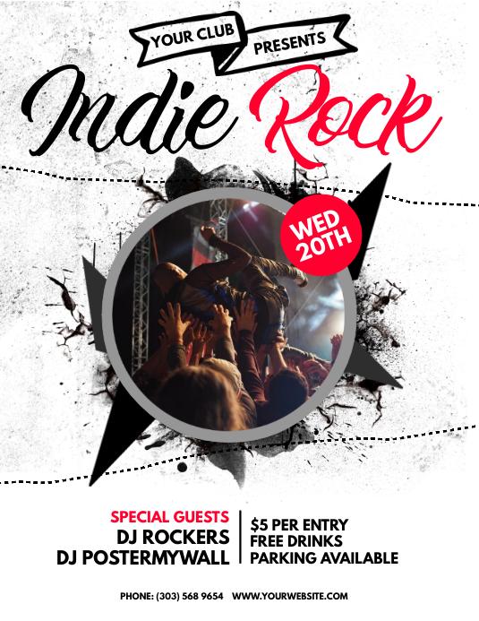 Indie Rock Flyer Løbeseddel (US Letter) template