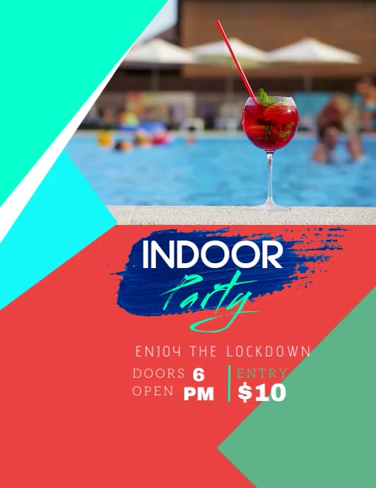 Indoor Pool Party Event Video Flyer (Letter pang-US) template