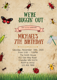 Insect bugs birthday party invitation