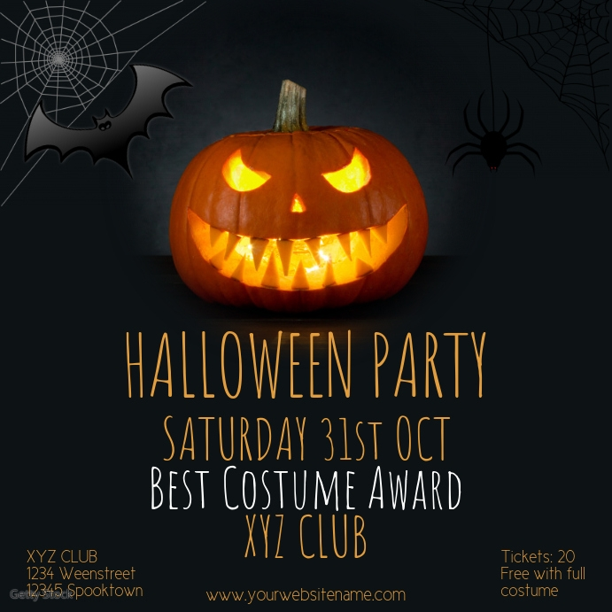 Instagram Halloweenparty post Template event