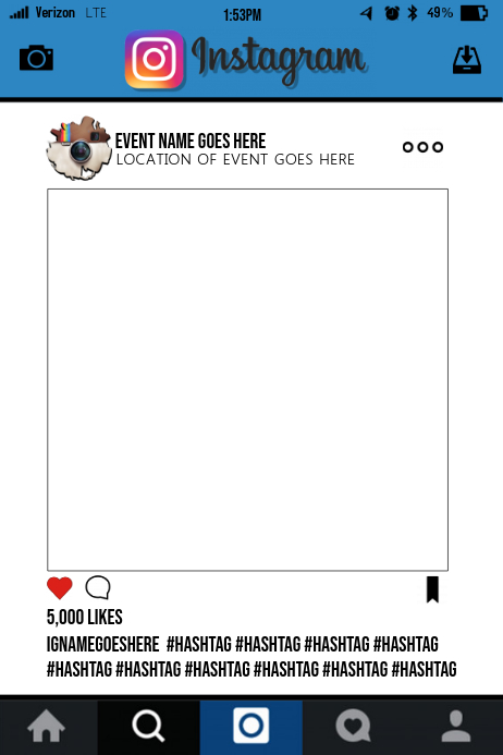 Instagram Party Prop Frame Template | PosterMyWall