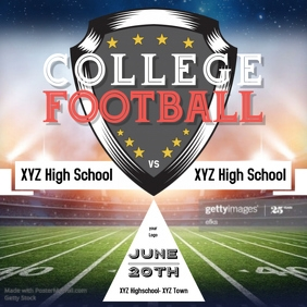 Instagram Post college footballl Flyer Template Sport