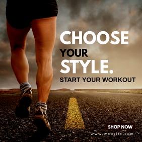 instagram post fitness store advertisement template