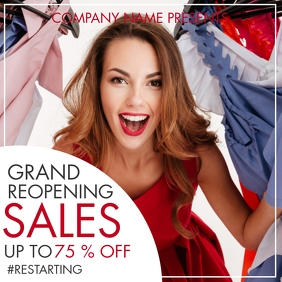 Instagram post grand reopening sales design t template