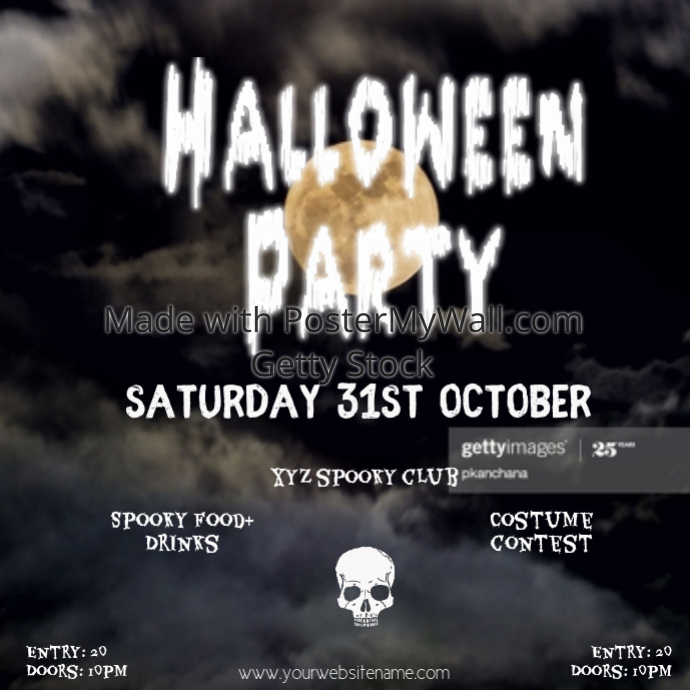 Instagram post Halloweenparty flyer template