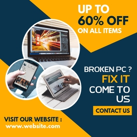instagram post pc repair advertisement template