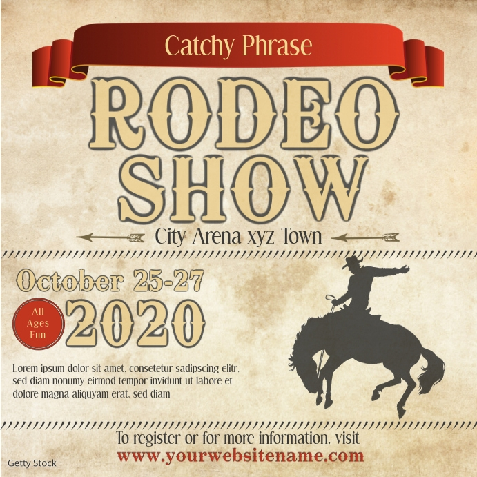 instagram post Rodeo Flyer show template parc Instagram-opslag