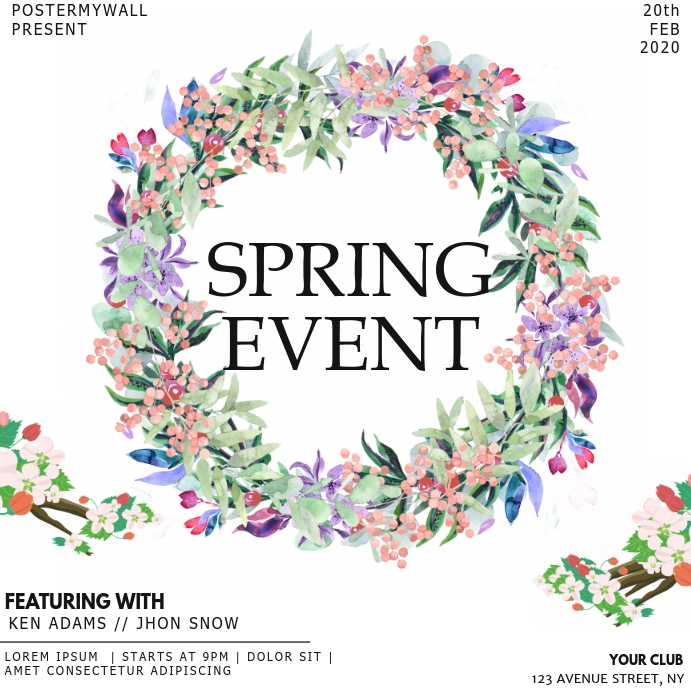 Instagram Spring event flyer template