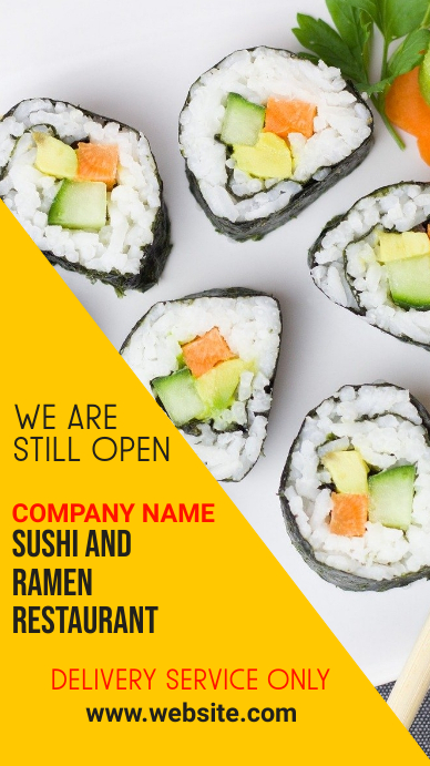instagram story sushi delivery services template