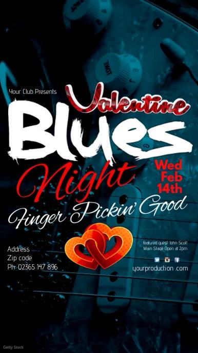 Instagram Valentine Blues Night Tampilan Digital (9:16) template