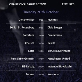 Instagram Video Champions League Fixtures template