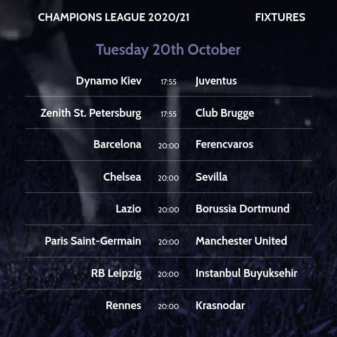 Instagram Video Champions League Fixtures Instagram-opslag template