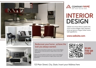 Interior design dark red and dark grey postca Postal template