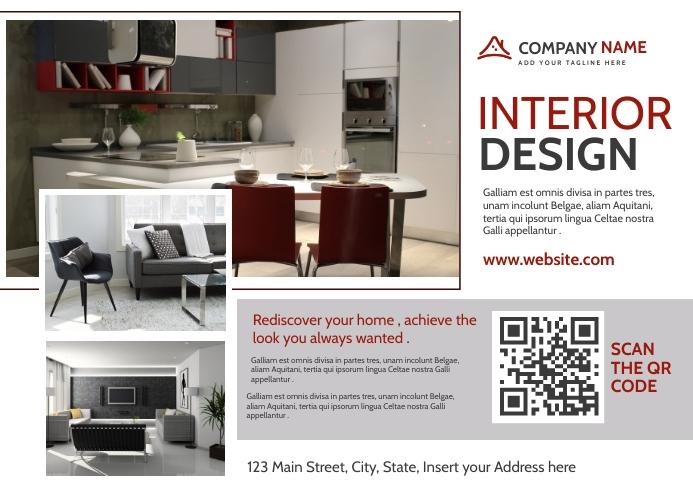Interior design dark red and dark grey postca template