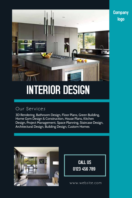 Copy of interior design flyer postermywall - How to be an interior designer ...